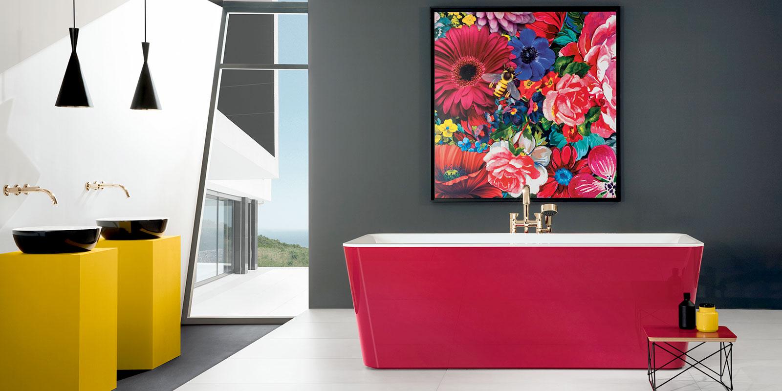 Diese Bad-Kreation bringt Farbe ins Bad